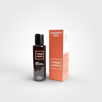 Botella cosmética con maqueta de caja