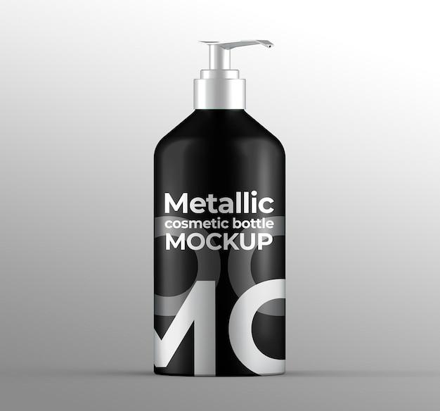 Botella cosmética metálica con maqueta de bomba
