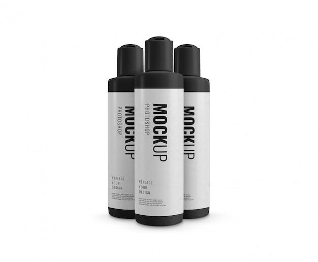 Botella cosmética publicidad realista