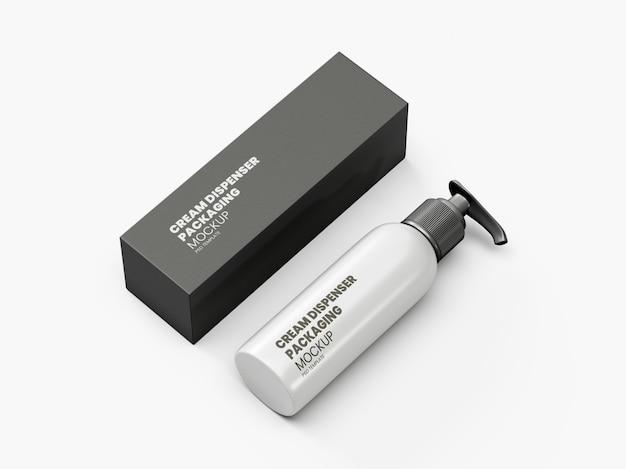 Botella dispensadora de crema y caja de embalaje maqueta psd