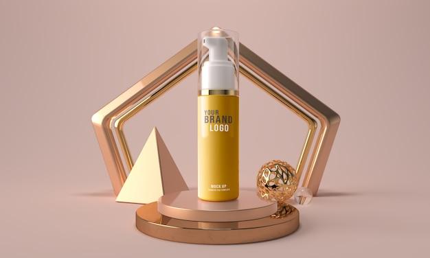 Botella de espuma cara cosmética plantilla de maqueta de render 3d