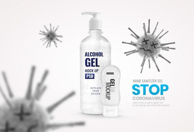 Botella de gel y tubo desinfectante de manos publicidad de banner de virus muerto
