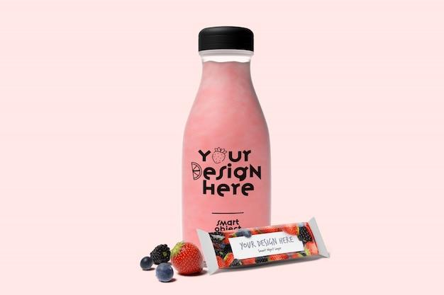 Botella de jugo con fruta maqueta