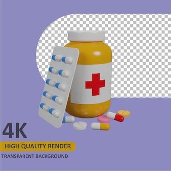Botella de medicina renderizado de dibujos animados modelado 3d