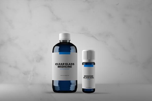 Botella de medicina de vidrio y maqueta de vial