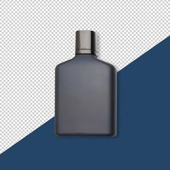 Botella de perfume azul oscuro con maqueta de reflexión