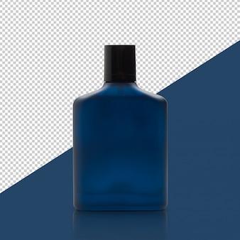 Botella de perfume azul oscuro con plantilla de maqueta de reflexión para su diseño.