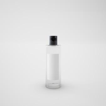 Botella de perfume con tapa negra.