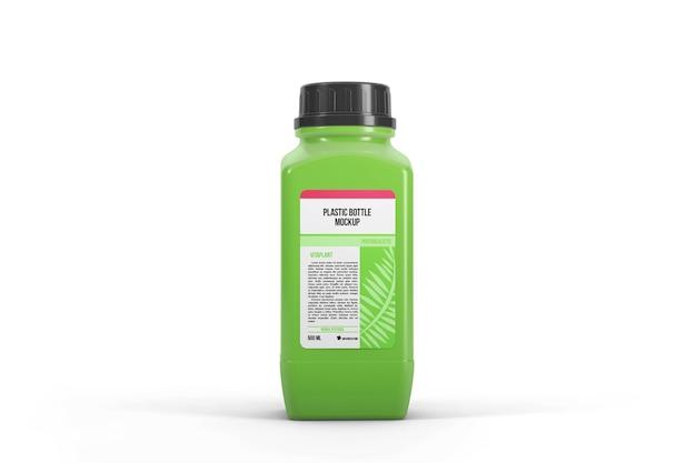 Botella de plástico de forma cuadrada con maqueta de pegatina