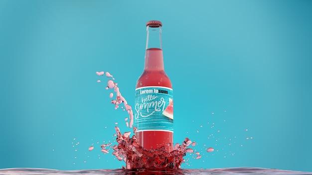 Botella de refresco con salpicaduras de jugo
