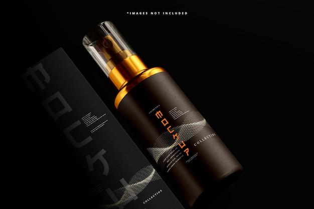 Botella de spray cosmético y maqueta de caja