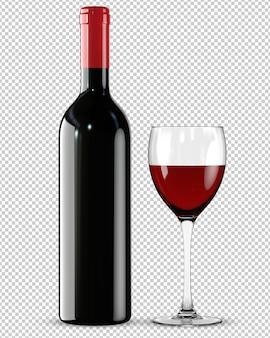 Botella y vaso de vino tinto.