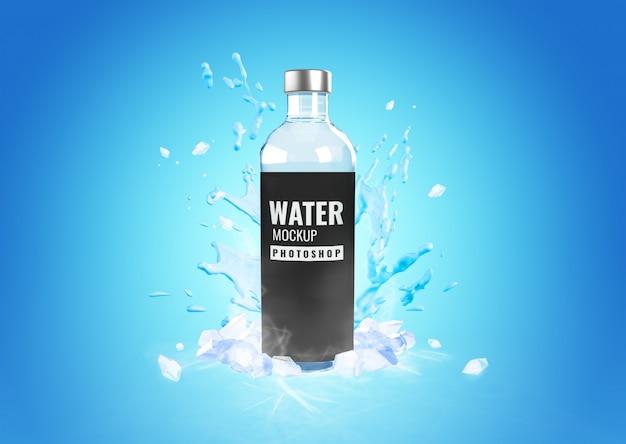 Botella de vidrio agua fría maqueta publicidad