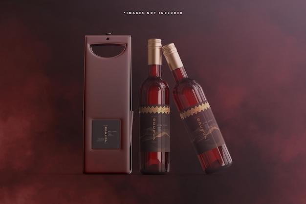 Botella de vino con bolsa o maqueta de estuche