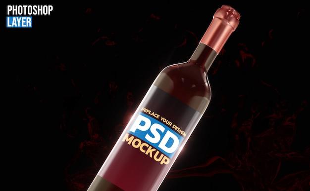 Botella vino representación 3d maqueta diseño