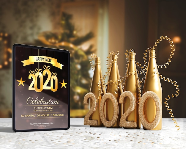 Botellas de champán dorado para la noche de año nuevo