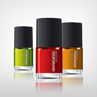 Botellas coloridas de esmalte de uñas