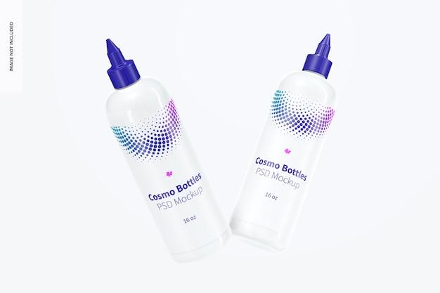 Botellas cosmo de 16 oz con maqueta de tapa giratoria, flotante