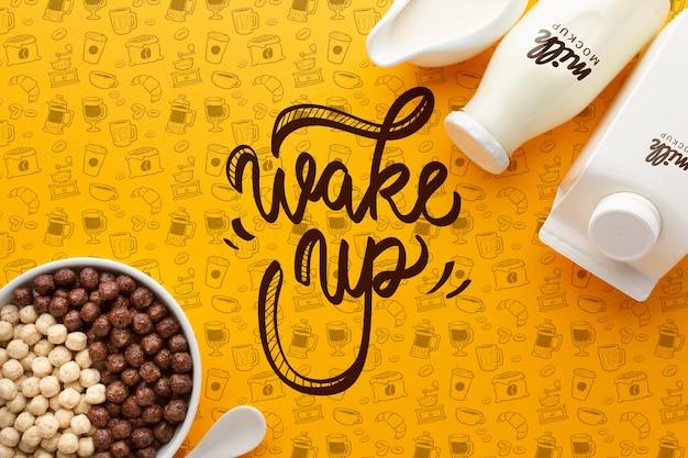 Botellas con leche y tazón con cereales