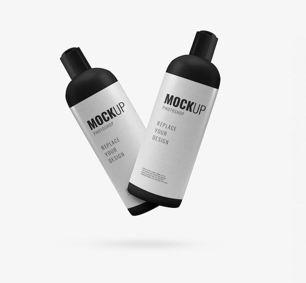 Botellas de maqueta publicitaria mínima