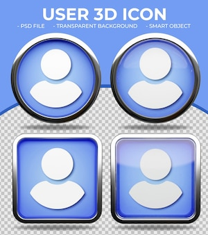 Botón de cristal azul realista icono de usuario 3d redondo y cuadrado brillante