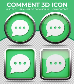 Botón de cristal verde realista brillante redondo y cuadrado comentario 3d ico