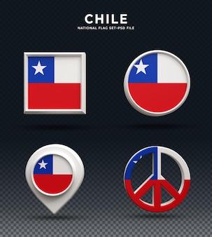 Botón de cúpula de renderizado 3d de la bandera de chile y sobre base brillante
