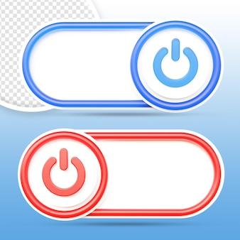 Botón de encendido y apagado conjunto renderizado aislado