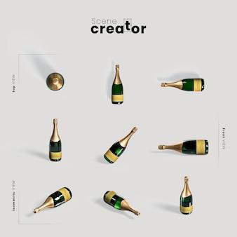 Bottiglia di champagne varietà angoli creatore scena di natale
