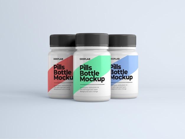 Bottiglia di pillola con design modificabile mockup psd