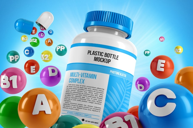 Bottiglia di pillole con mockup di vitamine volanti