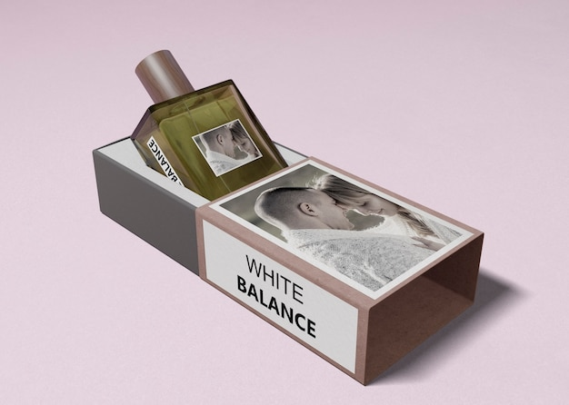 Bottiglia di profumo in scatola aperta