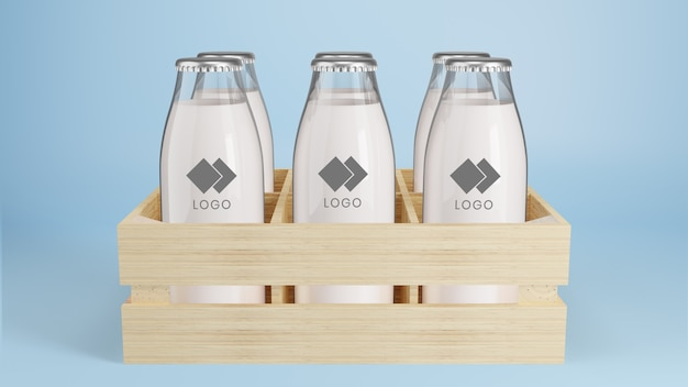 Bottiglia di vetro realistico del mockup del pacchetto di latte