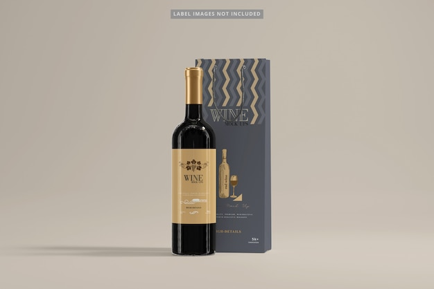 Bottiglia di vino con shopping bag mockup