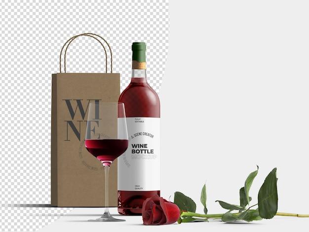 Bottiglia di vino rosso e modello di modello di sacco di carta con vetro e rosa