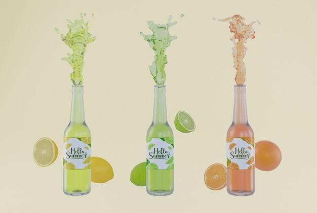 Bottiglie colorate di soda di frutta