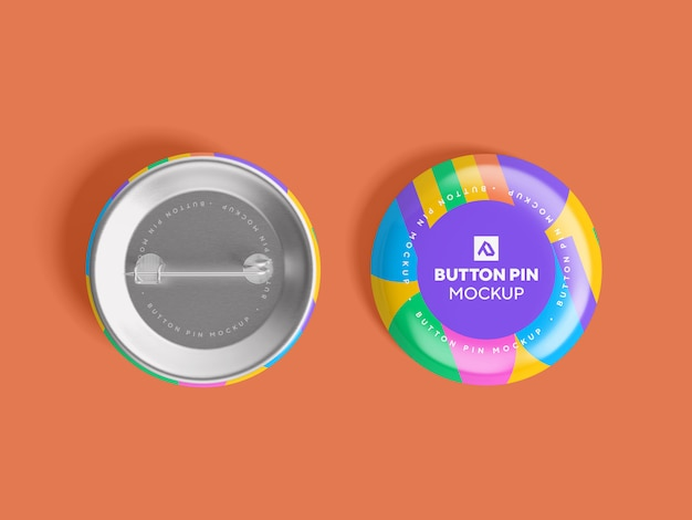 Bottone cerchio lucido pin mockup psd