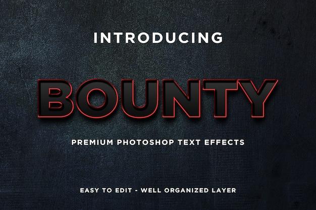 Bounty nero rosso effetto testo mockup premium psd