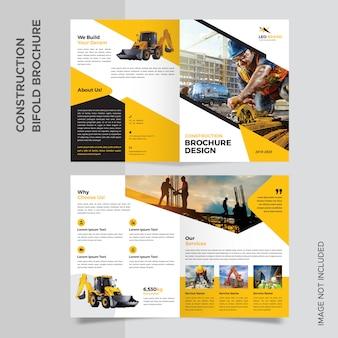 Bouw tweevoudige brochure template