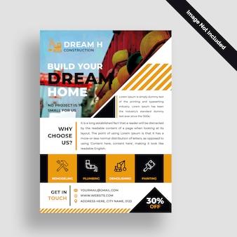 Bouwbedrijf flyer psd ontwerpsjabloon