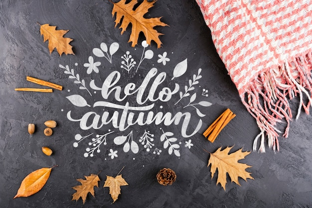 Boven weergave herfstbladeren op stucwerk achtergrond