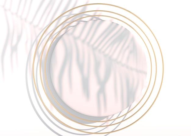 Bovenaanzicht abstract plat liggend podium met pastelfiguur