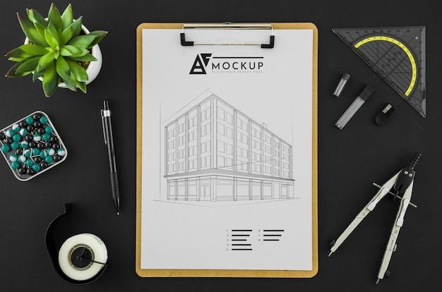 Bovenaanzicht architectuur tekenen met mock-up