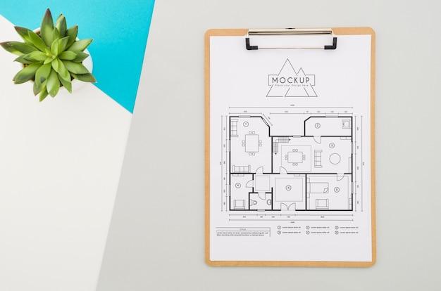 Bovenaanzicht architectuurontwerp met mock-up