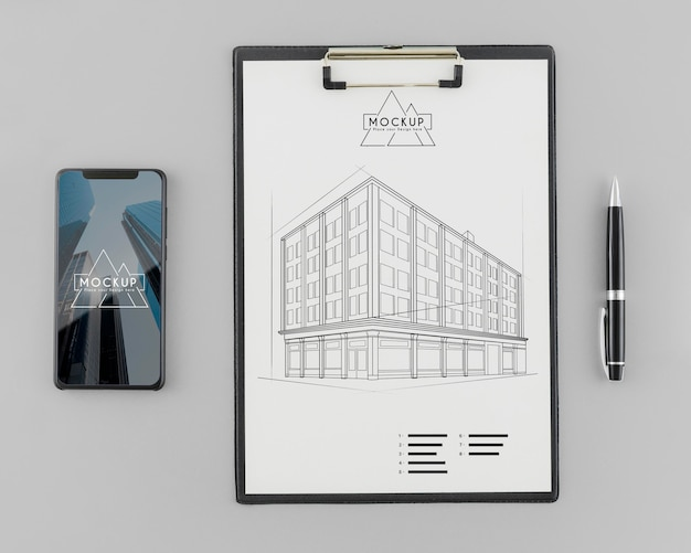 Bovenaanzicht architectuurschets met mock-up