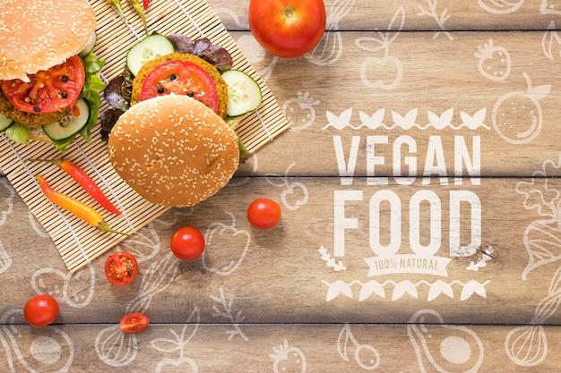 Bovenaanzicht arrangement met vegetarische hamburgers
