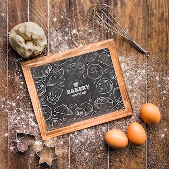 Bovenaanzicht bakkerij frame met mock-up