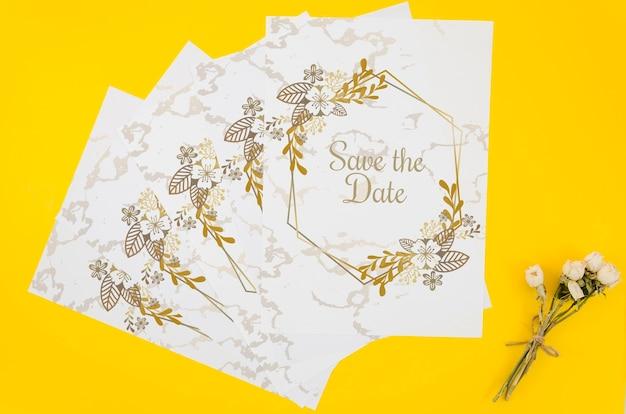 Bovenaanzicht bewaart het datummodel op gele achtergrond