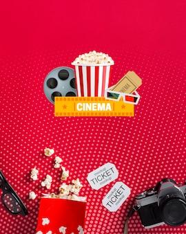 Bovenaanzicht bioscoop mock-up met popcorn