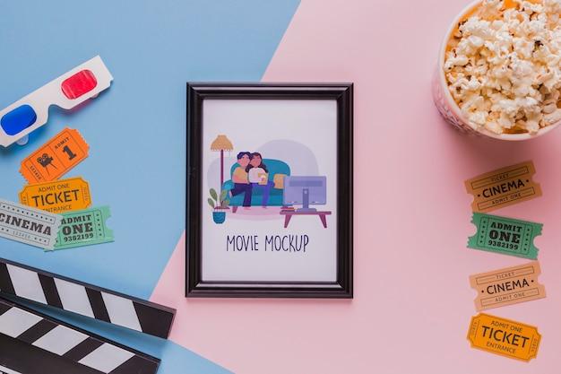 Bovenaanzicht bioscoopconcept met frame
